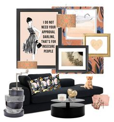 """Be Secure with Black and Peach..."" by kimberlyd-2 ❤ liked on Polyvore featuring interior, interiors, interior design, home, home decor, interior decorating, Eichholtz, Marimekko, Giclee Gallery and MICHAEL Michael Kors"