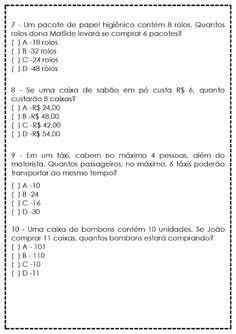 Atividades de Matemática para 5º Ano - Reforço - SÓ ESCOLA School Projects, Math Equations, Teaching, Education, Words, Russia 2018, Teaching Math, Secondary School, Multiplication Problems