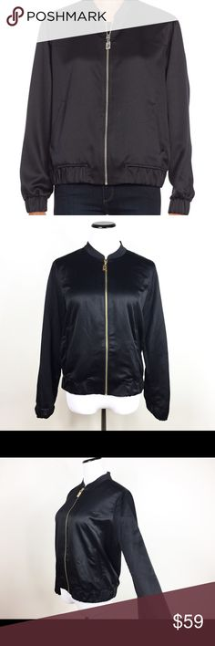 MICHAEL KORS SATIN BLCK BOMBER JACKET GOLD ZIPPER MICHAEL Michael Kors satin bomber jacket. Stand collar; zip front with logo pull. Long sleeves; elasticized cuffs. Vertical welt pockets at waist. Blouson silhouette. Elasticized hem. Polyester New with tags, absolutely flawless and super elegant! All offers welcome! Make an offer! Michael Kors Jackets & Coats