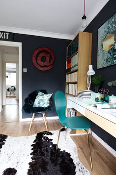 trendy home office design ideas for two long desk Home Office Space, Home Office Design, Ikea Furniture, Home Office Furniture, Grey Desk Chair, Desk Arrangements, Long Desk, Blogger Home, Cow Hide Rug