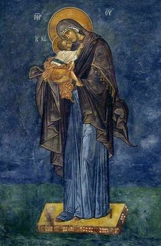The Panagia and Theotokos holding the Christ Child Religious Images, Religious Icons, Religious Art, Blessed Mother Mary, Divine Mother, Byzantine Icons, Byzantine Art, Images Of Mary, Jesus Art