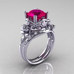Modern Vintage 14K White Gold 3.0 Ct Rose Ruby Diamond Wedding Ring Set R167S-14KWGDRR