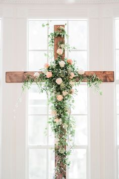 Stunning Floral Cross Ceremony // Timeless & Romantic Peach Wedding Ideas via Wedding Cross, Star Wedding, Floral Wedding, Wedding Flowers, Dream Wedding, Wedding Altars, Wedding Ceremony, Wedding Mandap, Wedding Stage