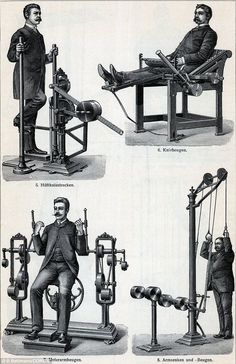 Gentleman Gym: The pinstripe workout gear looks a world away from today's Lycra - but these machines from the late 1800s show how some gym equipment remains almost unchanged