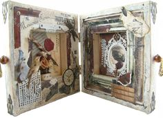Artfully Musing: Vintage French Painter's Canvas Book – Designed For Alpha Stamps by Laura Carson Collage Art Mixed Media, Mixed Media Canvas, Altered Books, Altered Art, Mini Albums, Altered Canvas, Found Art, Assemblage Art, Home And Deco