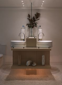 Bathroom - Back to back wood vanities and porcelain sinks for more space - adding defused lighting at floor level ...great for evening hours.  Good concept.   Patricia Gray - Interior Design