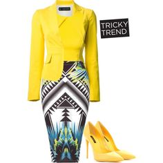 Although this is a suit, the colors are extremely too bright and distracting. The yellow shoes do not help toning down the outfit either. Neutral colors are the safest to choose when going into an interview.