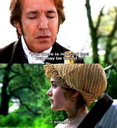 Colonel Christopher Brandon and Miss Marianne Dashwood. Sense and Sensibility. Alan Rickman, Jane Eyre, Jane Austen Books, Love Movie, I Movie, Movie Stars, Romance Puro, Mr Darcy, Daddy