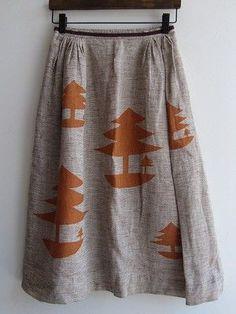 Grey and brown tree printed skirt. I love the whimsical print.
