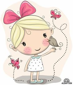 Illustration about Cute Cartoon Girl with bird and butterflies on a pink background. Illustration of dress, view, motion - 70940707 Cartoon Cartoon, Cute Cartoon Girl, Cartoon Drawings, Cute Drawings, Cute Images, Cute Pictures, Image Deco, Vector Shapes, Vector Art