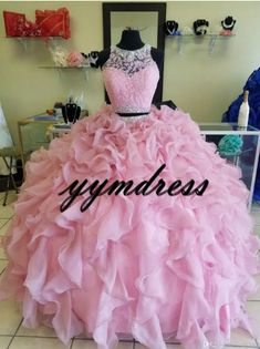 Two Piece Pink Quinceanera Dresses 2019 Modest Beaded Crystals Masquerade Ball Gown Evening D. : Two Piece Pink Quinceanera Dresses 2019 Modest Beaded Crystals Masquerade Ball Gown Evening Dress Sweet 16 Girls Birthday Party Plus Size, Cute Prom Dresses, Sweet 16 Dresses, Sweet Dress, Pretty Dresses, Beautiful Dresses, Pink Dresses, 15 Dresses, Dress Prom, Puffy Dresses