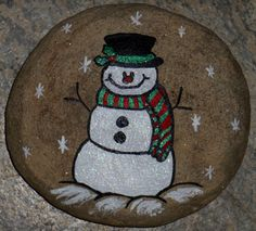 Cool hand painted Snowman rock for my sweet friend, cuz I love her!