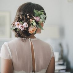 braided updo filled with flowers