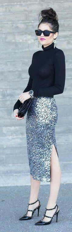 Sequin skirt sweater  heels wedding guest