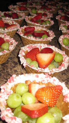 Drizzle chocolate inside bowls to keep them from getting soft and add fruit or possibly grape salad.