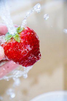 Washing the beautiful strawberries!