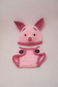 Piglet Hat & Diaper Cover Set, inspired by Winnie the Pooh
