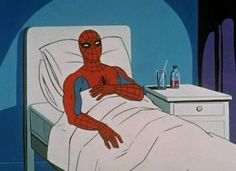 Don't worry Even super heroes get sick. Get well soon - spiderman sick Reaction Pictures, Funny Pictures, Random Pictures, Spider Meme, Sick Meme, Memes Marvel, Marvel Comics, Comedy, Meme Template