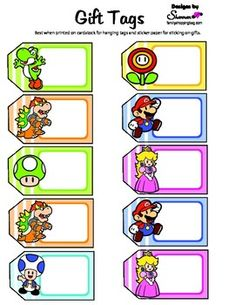 c2fba9d8ac5 Gift Tags Gift Tags Super Mario Birthday