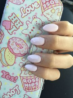 Cute light pink pastel nails Kawaii almond shaped gel acrylic