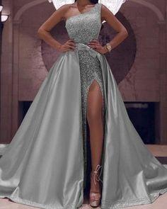 Fabulous One Shoulder Sequin Dresses 2020 With Detachable Skirt – Phylliscouture Mermaid Sequin Dress, Glitter Prom Dresses, Velvet Bridesmaid Dresses, Ball Gowns Prom, Long Ball Dresses, Formal Dresses, Elegant Party Dresses, Long Wedding Dresses, Gown Wedding