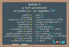 Wykaz wyrażeń z przyimkiem FOR - Loip Angielski Online English Phrases, English Words, English Lessons, English Grammar, English Help, Improve Your English, English Study, Languages Online, Foreign Languages