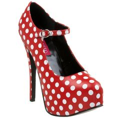 I need these this summer! Seriously, need! The Violet Vixen - Polka Pleasers Red, $75.00 (http://thevioletvixen.com/shoes/polka-pleasers-red/)