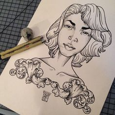 Illustration by Corey Davis #cityofinkedgewood #girls #prettygirls #tattoodesigns