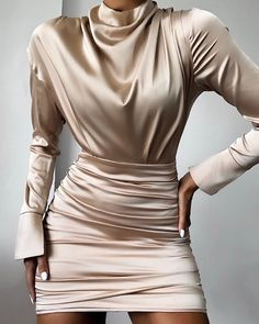 High Neck Ruched Satin Dress Style:Fashion Pattern Type:Solid Material:Polyester Neckline:High Neck Sleeve Style:Long Sleeve Length:Mini Occasion:Cocktail & Party Package Dress Note: There might be difference ac. Satin Dresses, Sexy Dresses, Fashion Dresses, Party Dresses, Event Dresses, Long Dresses, Simple Dresses, Beautiful Dresses, Casual Dresses