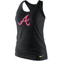 Nike Atlanta Braves Ladies Tri-Blend Logo Racerback Tank Top