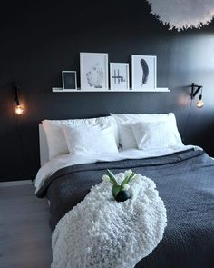 Minimal Bedroom With A Black Accent Wall And Ledge With Artworks Minimal Bedroom With A Black Accent Wall And Ledge With Artworks Minimal Bedroom, Modern Bedroom, Bedroom Decor, White Bedrooms, Bedroom Ideas, Dream Rooms, Dream Bedroom, Black Accent Walls, New Room