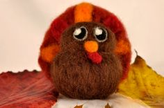 Needle Felted Turkey- Felted Bird Holiday, Autumn, Fall, and Thanksgiving Decoration and More on Etsy, $15.50