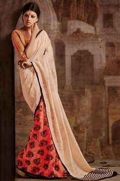 Mesmeric Orange, Cream Silk Printed Half-Half Designer Saree