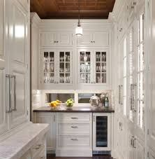 Fabulous House Design With Fascinating Furniture: Charming Traditional Kitchen Design White Cabinetry And Glass Cupboard Door Mirrored Backsplash Ideas Country Home ~ CLAFFISICA Decoration Inspiration Kitchen Butlers Pantry, Rta Kitchen Cabinets, Butler Pantry, New Kitchen, Kitchen Decor, White Cabinets, Inset Cabinets, Glass Cabinets, Kitchen Ideas