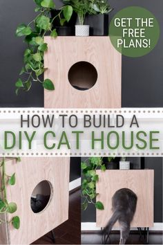 Today I'm sharing my latest stylish indoor cat house side table build. This piece is easy to build and does double duty—a side table and a stylish cat cave.