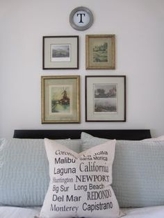 stencil beach towns on red pillow for reading nook  {Amazing Teenage Boy's Room Reveal - Remodelaholic | Remodelaholic}