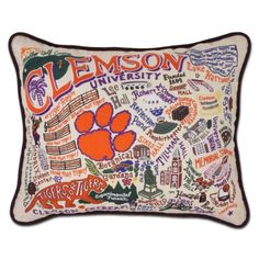 CLEMSON UNIVERSITY COLLEGIATE EMBROIDERED PILLOW