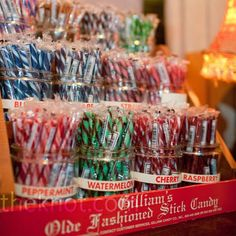 The couple set up an old-fashioned candy-store-style bar of treats for guests to take home.