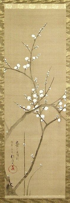 酒井抱一. Sakai Hoitsu (1761-1828). White Plum Blossom. Japanese hanging scroll. Nineteenth century. Late Edo period. ink and color on silk; signed and dated tsuchinoe tora fuyu sha oite ukaan-shu Hoitsu kishin (painted winter of 1818) with artist's seal Bunsen. Rinpa School.