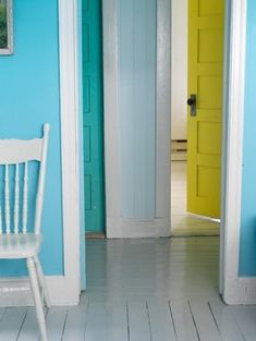 colorful doors & walls + white trim