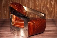 Aviator Magnum Square Back Leather & Steel Armchair (other colors avail.) #Handmade