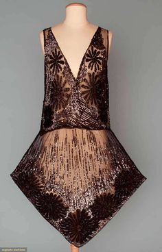 Vintage Sequin and Beaded Flapper Dress, 1920s.