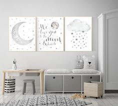 Nursery wall art grey gray nursery nursery decor neutral baby room decor gender neutral moon and stars grey nursery decor baby room art Baby room