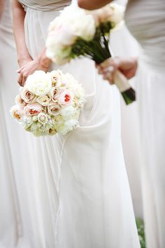 A blush and ivory bouquets of roses, calla lilies, and proteas | @jennawphotog | Brides.com