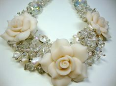 Clear Crystals with White Ivory Freshwater Pearls by MommaGoddess, $42.00