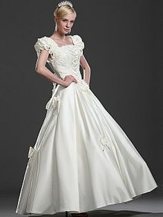 Puffy Sleeved Beaded Bodice Full Satin Ball Gown with Bows'