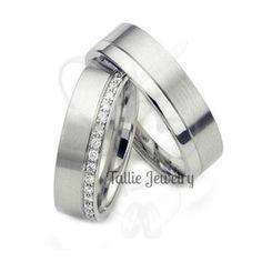 diamond eternity wedding rings matching wedding bands set 10k 14k 18k solid gold or platinum his hers wedding rings satin and shiny finish