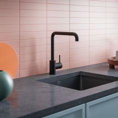 Elegant kjøkkenbatteri fra Mora Armatur. Fås også i fargene krom, polert messing, børstet messing og børstet nikkel. Pink Blue, Sink, Kitchens, Elegant, Design, Home Decor, Sink Tops, Classy, Vessel Sink
