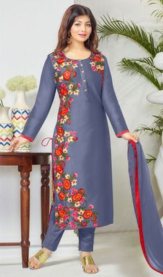 The Ayesha Takia Collection:atisundar enticing Blue Embroidered Designer Straight Cuts in Cambric Cotton Featuring Ayesha Takia -… Pakistani Dresses, Indian Dresses, Indian Outfits, Embroidery Suits, Embroidery Fashion, Kurta Designs, Blouse Designs, Muslim Fashion, Indian Fashion