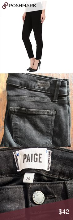 """PAIGE Black Denim Skinny Jean Excellent condition. No sign of wear. VERTUGO CROP. 54% rayon, 23% cotton, 22% polyester, 1% spandex. Made in the 🇺🇸. 14"""" flat across front of waist. 8"""" rise. 25"""" inseam. Paige Jeans Pants Skinny"""